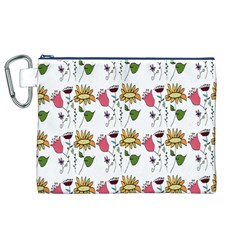 Handmade Pattern With Crazy Flowers Canvas Cosmetic Bag (XL)