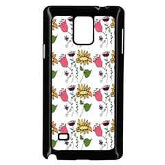 Handmade Pattern With Crazy Flowers Samsung Galaxy Note 4 Case (black)