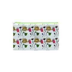Handmade Pattern With Crazy Flowers Cosmetic Bag (XS)