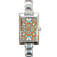 Digital Computer Graphic Geometric Kaleidoscope Rectangle Italian Charm Watch