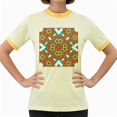 Digital Computer Graphic Geometric Kaleidoscope Women s Fitted Ringer T-Shirts