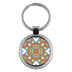 Digital Computer Graphic Geometric Kaleidoscope Key Chains (Round)
