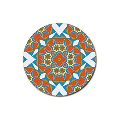 Digital Computer Graphic Geometric Kaleidoscope Rubber Round Coaster (4 Pack)