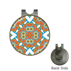 Digital Computer Graphic Geometric Kaleidoscope Hat Clips with Golf Markers