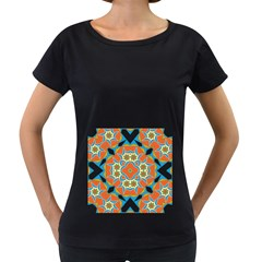 Digital Computer Graphic Geometric Kaleidoscope Women s Loose-Fit T-Shirt (Black)
