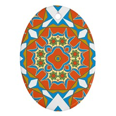 Digital Computer Graphic Geometric Kaleidoscope Oval Ornament (two Sides)