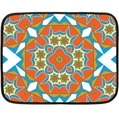 Digital Computer Graphic Geometric Kaleidoscope Double Sided Fleece Blanket (Mini)