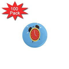 Alarm Clock Weker Time Red Blue 1  Mini Magnets (100 pack)