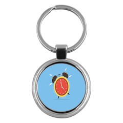 Alarm Clock Weker Time Red Blue Key Chains (round)