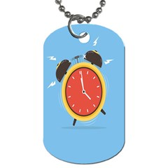 Alarm Clock Weker Time Red Blue Dog Tag (two Sides)