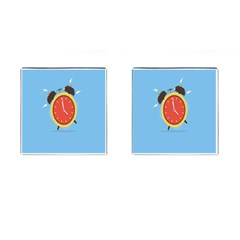 Alarm Clock Weker Time Red Blue Cufflinks (square)