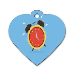 Alarm Clock Weker Time Red Blue Dog Tag Heart (one Side)