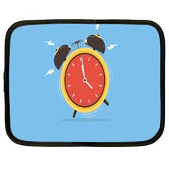 Alarm Clock Weker Time Red Blue Netbook Case (Large)