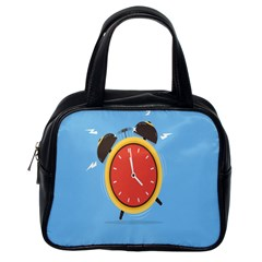 Alarm Clock Weker Time Red Blue Classic Handbags (One Side)