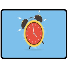 Alarm Clock Weker Time Red Blue Fleece Blanket (Large)