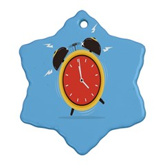 Alarm Clock Weker Time Red Blue Snowflake Ornament (Two Sides)