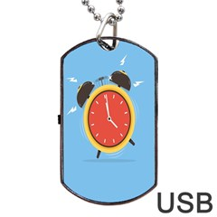 Alarm Clock Weker Time Red Blue Dog Tag USB Flash (Two Sides)