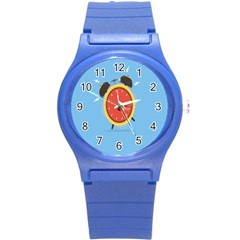 Alarm Clock Weker Time Red Blue Round Plastic Sport Watch (s)