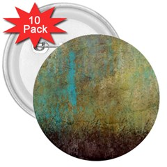 Aqua Textured Abstract 3  Buttons (10 pack)