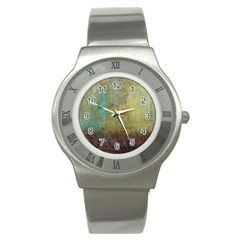 Aqua Textured Abstract Stainless Steel Watch
