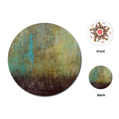 Aqua Textured Abstract Playing Cards (round)