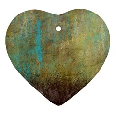 Aqua Textured Abstract Heart Ornament (Two Sides)