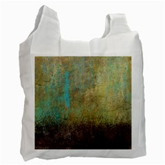 Aqua Textured Abstract Recycle Bag (one Side)
