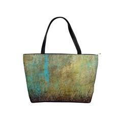 Aqua Textured Abstract Shoulder Handbags