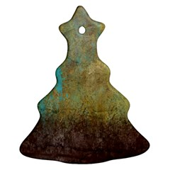 Aqua Textured Abstract Christmas Tree Ornament (two Sides)