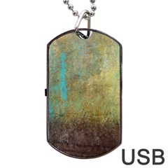 Aqua Textured Abstract Dog Tag USB Flash (Two Sides)