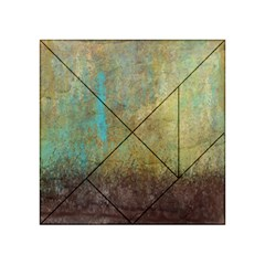 Aqua Textured Abstract Acrylic Tangram Puzzle (4  x 4 )