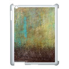 Aqua Textured Abstract Apple iPad 3/4 Case (White)