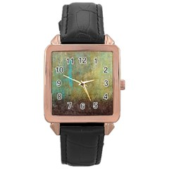 Aqua Textured Abstract Rose Gold Leather Watch