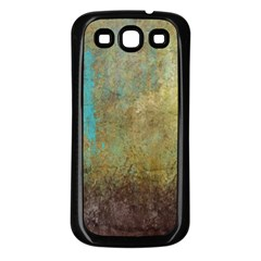 Aqua Textured Abstract Samsung Galaxy S3 Back Case (Black)