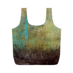 Aqua Textured Abstract Full Print Recycle Bags (M)