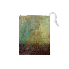 Aqua Textured Abstract Drawstring Pouches (Small)