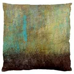 Aqua Textured Abstract Large Flano Cushion Case (one Side)