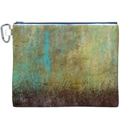 Aqua Textured Abstract Canvas Cosmetic Bag (xxxl)