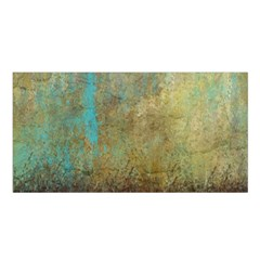 Aqua Textured Abstract Satin Shawl