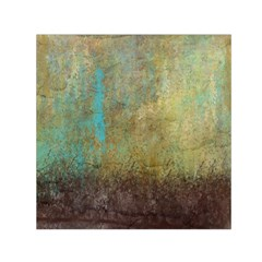 Aqua Textured Abstract Small Satin Scarf (Square)