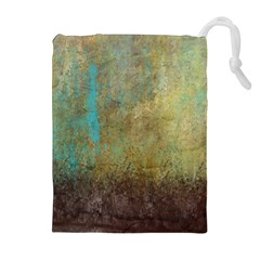Aqua Textured Abstract Drawstring Pouches (extra Large)
