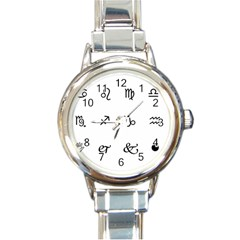 Set Of Black Web Dings On White Background Abstract Symbols Round Italian Charm Watch