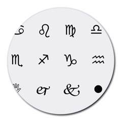 Set Of Black Web Dings On White Background Abstract Symbols Round Mousepads