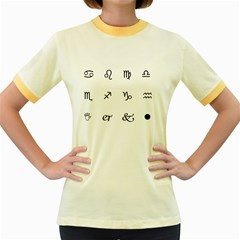 Set Of Black Web Dings On White Background Abstract Symbols Women s Fitted Ringer T Shirts
