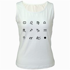 Set Of Black Web Dings On White Background Abstract Symbols Women s White Tank Top