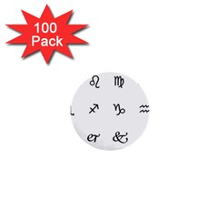 Set Of Black Web Dings On White Background Abstract Symbols 1  Mini Buttons (100 Pack)