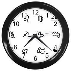 Set Of Black Web Dings On White Background Abstract Symbols Wall Clocks (black)