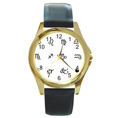 Set Of Black Web Dings On White Background Abstract Symbols Round Gold Metal Watch