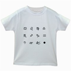 Set Of Black Web Dings On White Background Abstract Symbols Kids White T Shirts