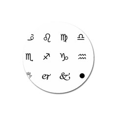 Set Of Black Web Dings On White Background Abstract Symbols Magnet 3  (round)